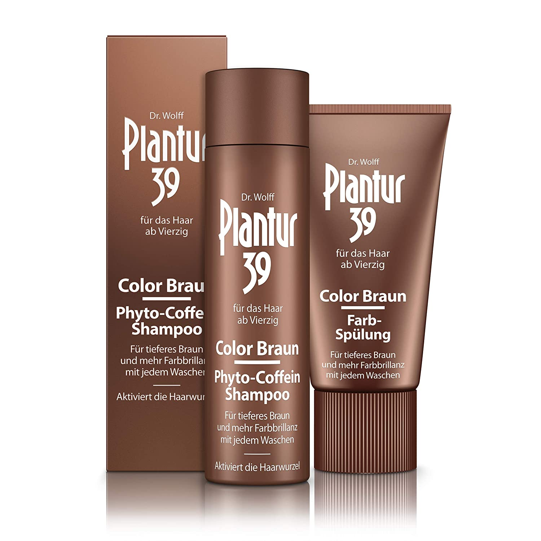 Plantur 39 Color Braun Phyto-Coffein-Shampoo, 250ml + Farb-Spülung, 150 ml - Für tieferes Braun, Gegen menopausalen Haarausfall 250ml + Farb-Spülung