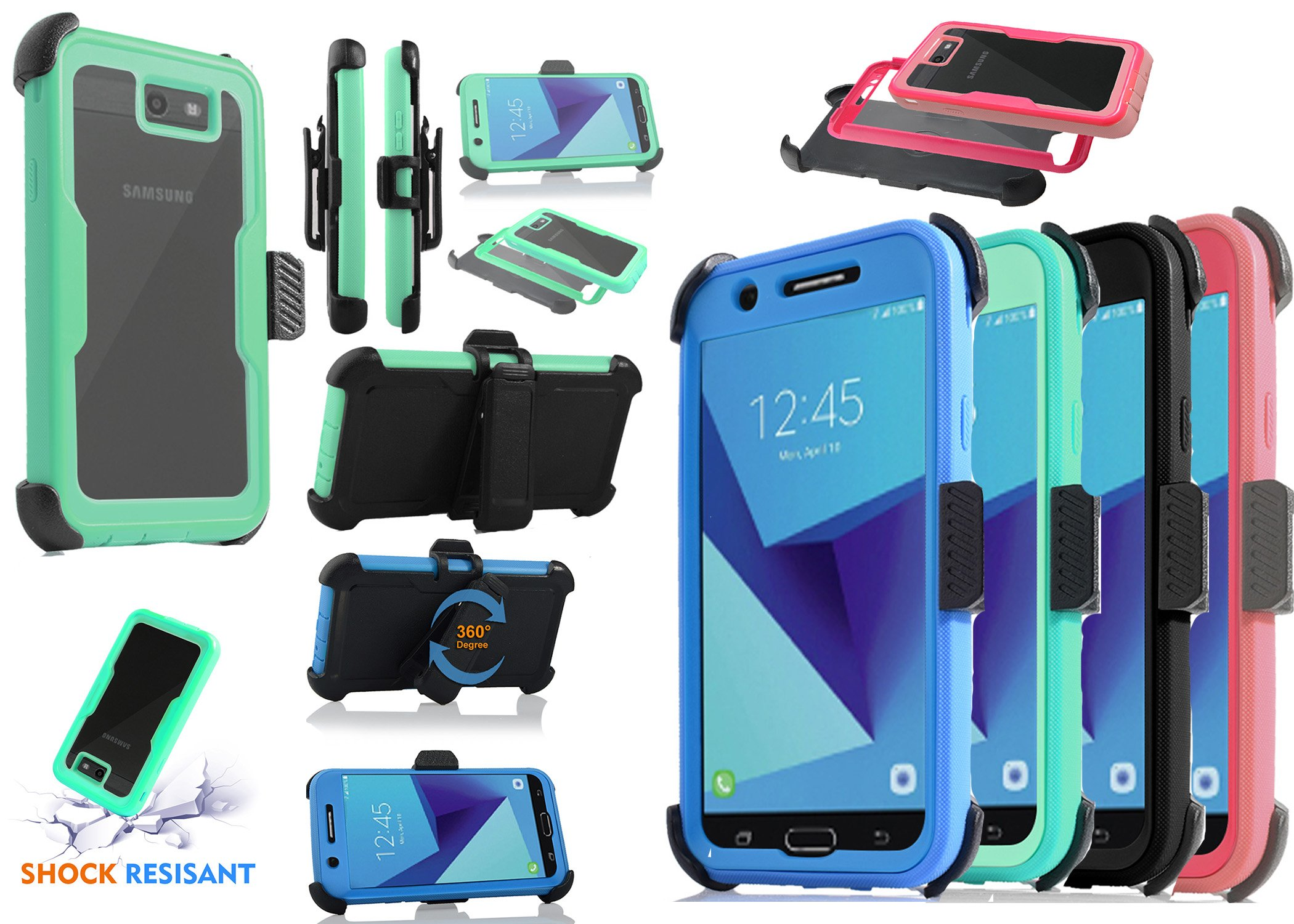 For Samsung Galaxy J7/Sky Pro/J7 Prime/J7V/J727/Perx/Halo Full Body Rugged Holster Explorer Armor Case with Built in Screen Protector (Black) by customerfirst (Image #6)
