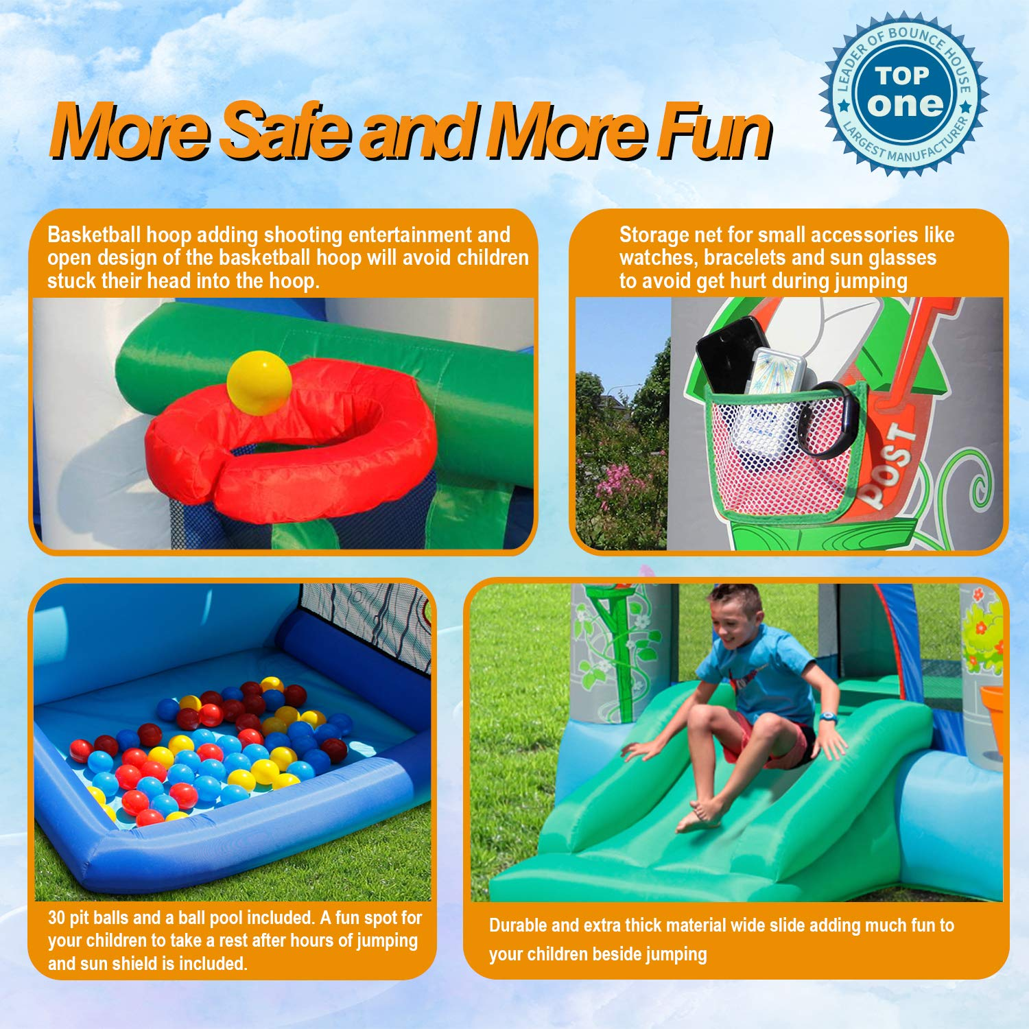 ACTION AIR Bounce House, Air Bouncer with 30 Ball, Inflatable Bouncer with Air Blower, Jumping Castle with Slide, for Outdoor and Indoor, Durable Sewn with Extra Thick Material, Idea for Kids by ACTION AIR (Image #3)