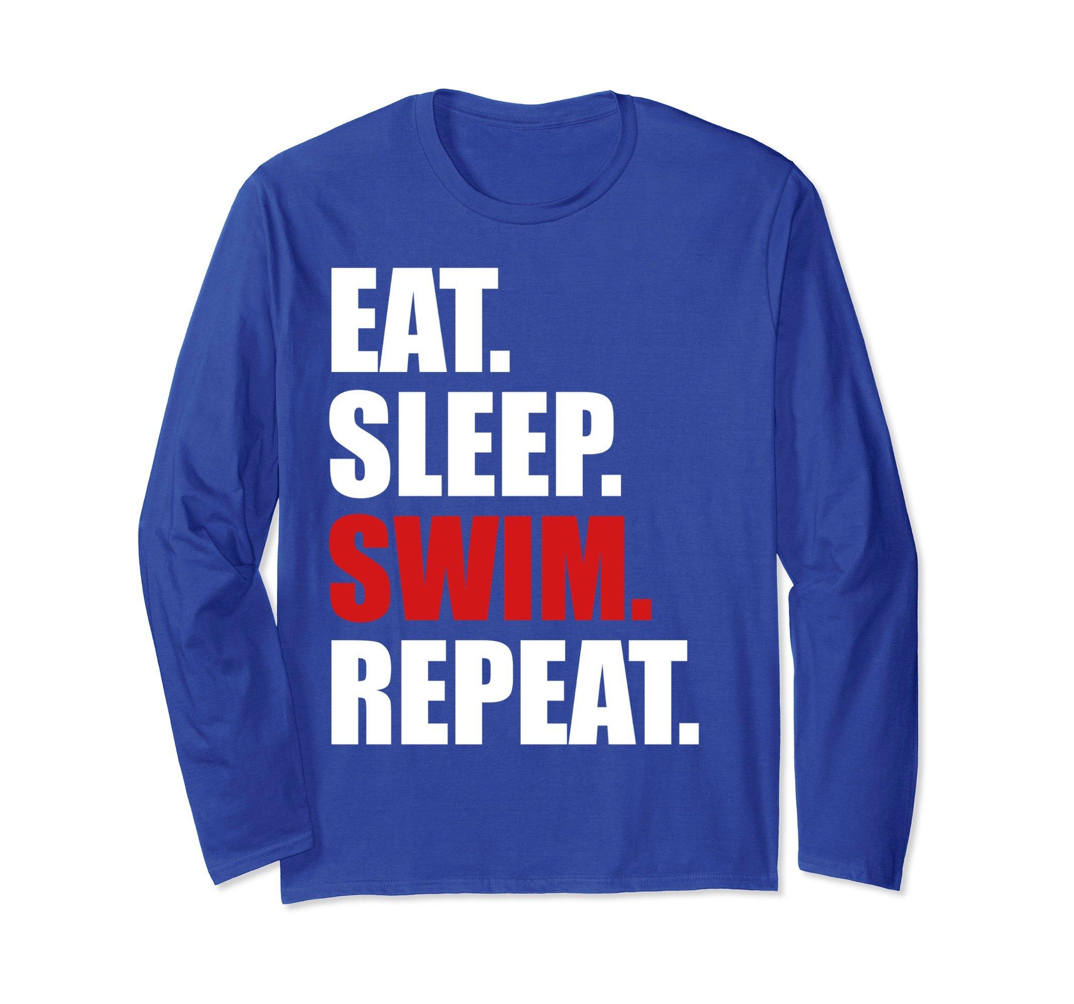 Unisex Eat Sleep Swim T-Shirt Long Sleeve for Mens Womens Swimming Small Royal Blue