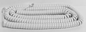 The VoIP Lounge 25 Foot Long White Handset Receiver Curly Coil Phone Cord for Panasonic KXT KXDT KXNT Series