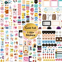 Mokani Gold Foil Planner Stickers, 1150+ Cute Colorful Stickers (21 Sheets) for Calendar, Planner, Journal - Perfect for…