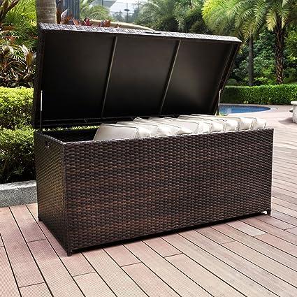 100 Gallon Brown Resin Wicker Storage Bin Box Outdoor Pool Patio Furniture  Storage - Amazon.com : 100 Gallon Brown Resin Wicker Storage Bin Box Outdoor