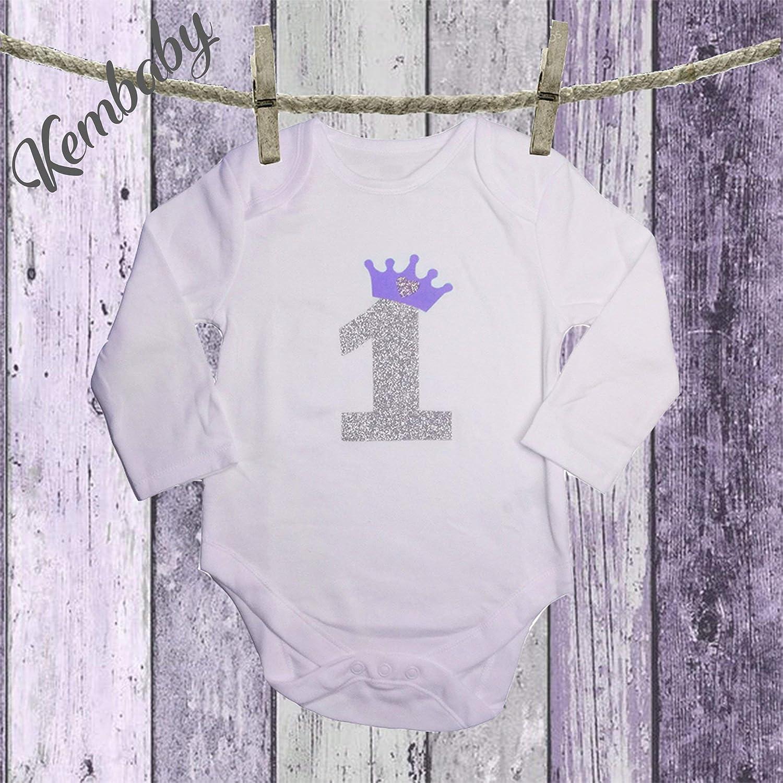 Body/Camiseta primer cumpleaños numero 1 para niñas: Amazon ...