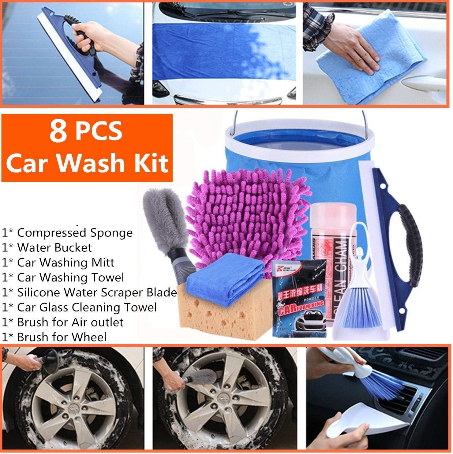 Limpieza Kit de Coche Moto Limpiar Herramientas 8 PICS - Wash Mitt, Sponge, Toalla de absorción de agua, Paños de microfibra, Enjugador, Cepillo, Cubo de agua: Amazon.es: Coche y moto