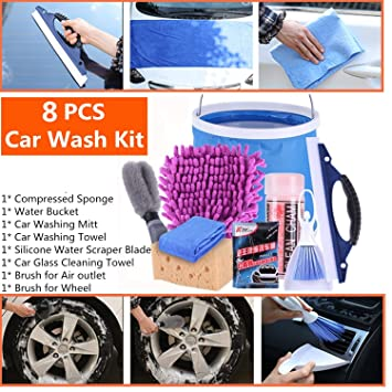 10 Pcs Car Cleaning Accessories Kit with Windshield Cleaning Tool/Water Bucket/Car Washing Towel/Car Back Seat Organiser/Tire Brush/Car Washing Mitt AOVAVO Car Wash Kit Car Cleaning Kit