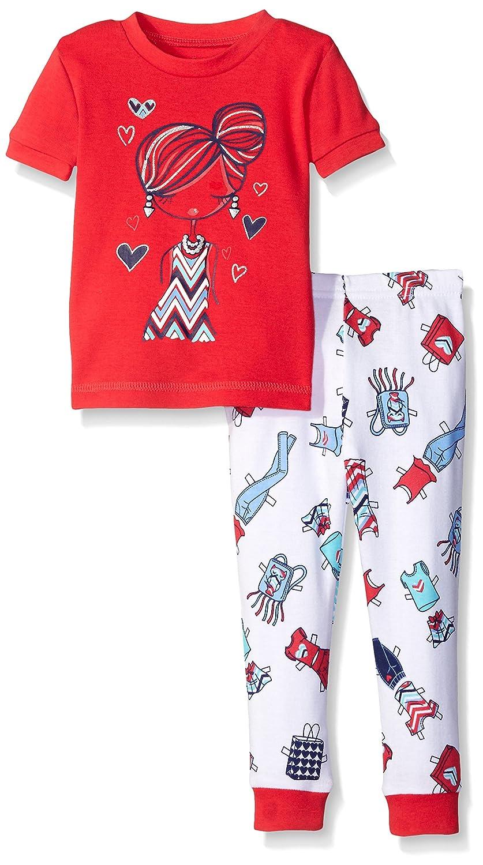 Petit Lem Baby Girls 2 Piece Short Sleeve Top and Pant Pajama Set-Fashionista