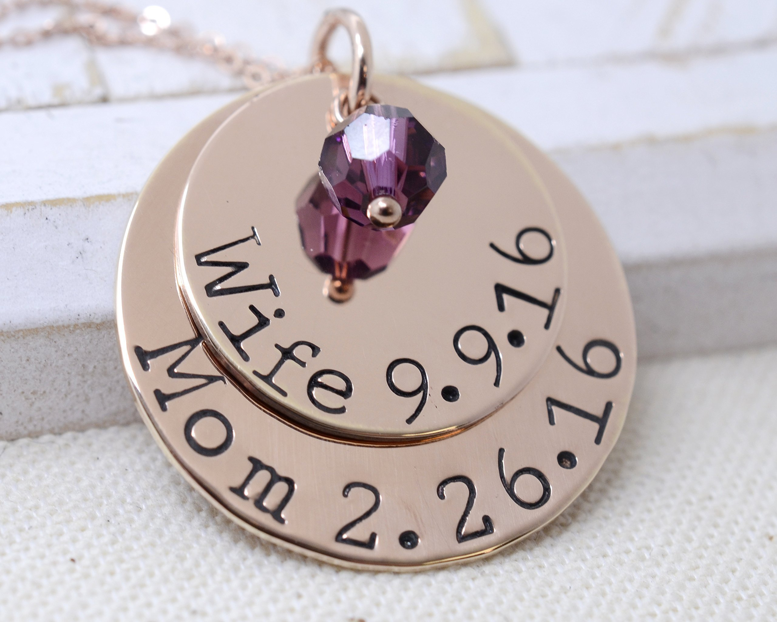 Custom Wife & Mom Necklace - 14K Rose Gold Filled Birthstone Jewelry - Mother's Day Gift for Her