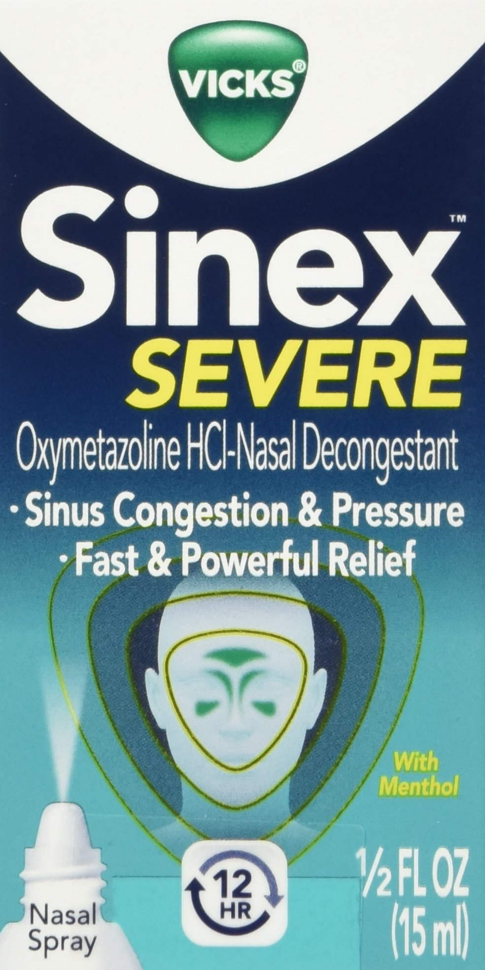Vicks Sinex SEVERE Sinus and Nasal Spray with Menthol 0.50 oz (Pack of 4) (Packaging May Vary)