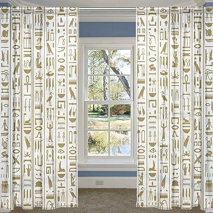 Amazon ALIREA Ancient Egyptian Hieroglyphs Sheer Curtain Panels