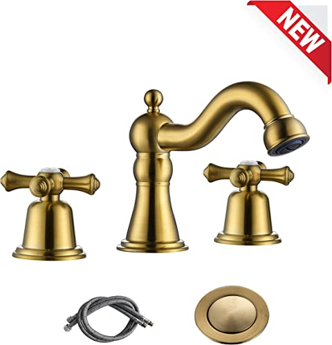 RKF Brass Two Handle Widespread Bathroom Sink Faucet with METAL Pop-up Drain with overflow and CUPC Supply Hoses,Brushed Gold,CWF033-BG