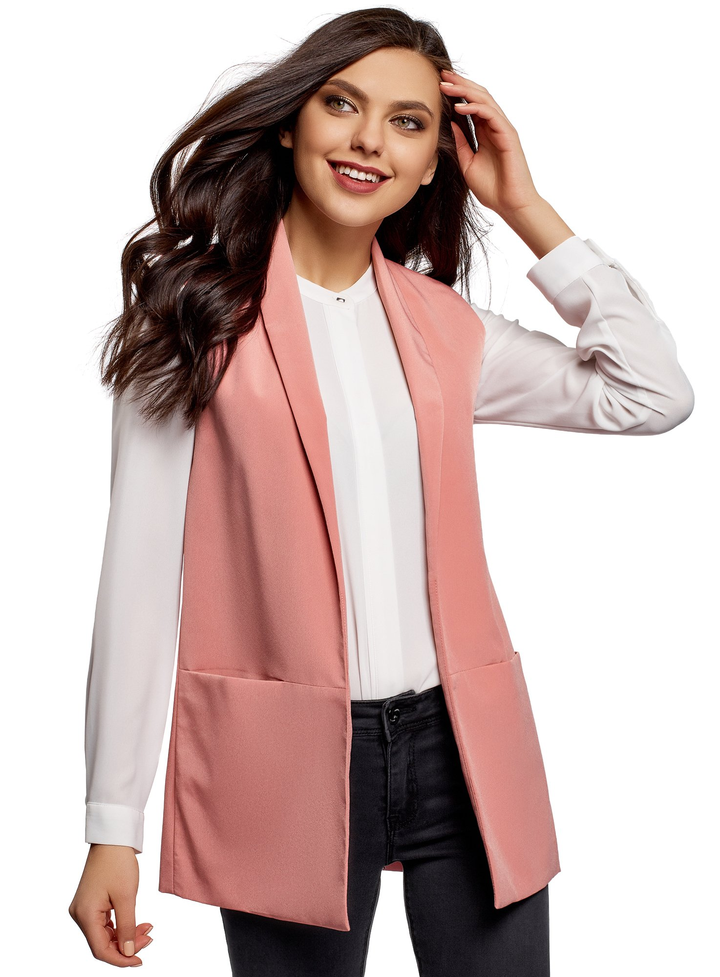 oodji Collection Women's Long No Closure Vest, Pink, US 4 / EU 38 / S