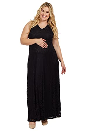723d5919b7 PinkBlush Maternity Lace V Neck Plus Evening Gown at Amazon Women s  Clothing store