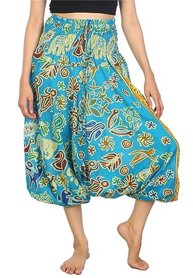 8de0b5c1286 Lofbaz Women s Elephant Harem Pants Smocked Waist Jumpsuit Light Blue 2XL