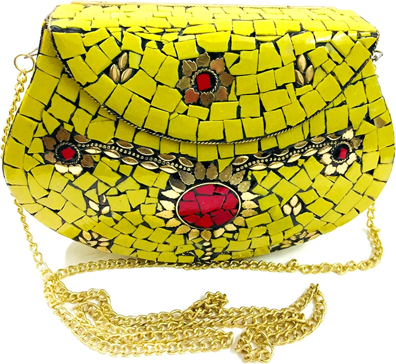 Yellow Women//Girls Bridal clutch party sling bag mosaic metal bag antique ethnic clutch Indian purse party clutch