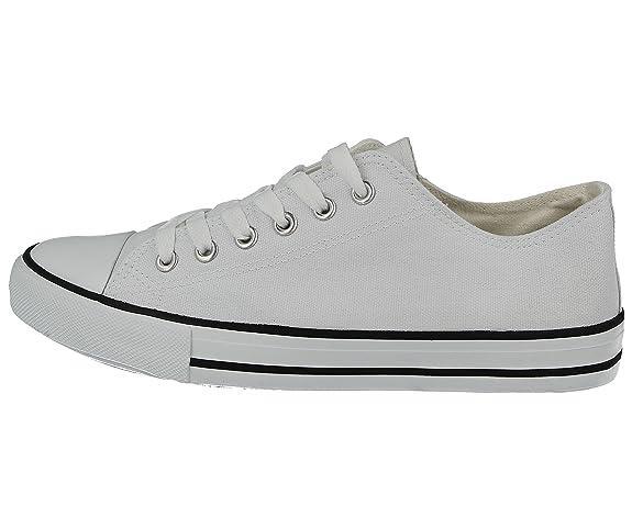 Foster Footwear - Scarpe da ginnastica in tela Ragazzi Unisex adulti uomo donna , bianco (White), 41.5