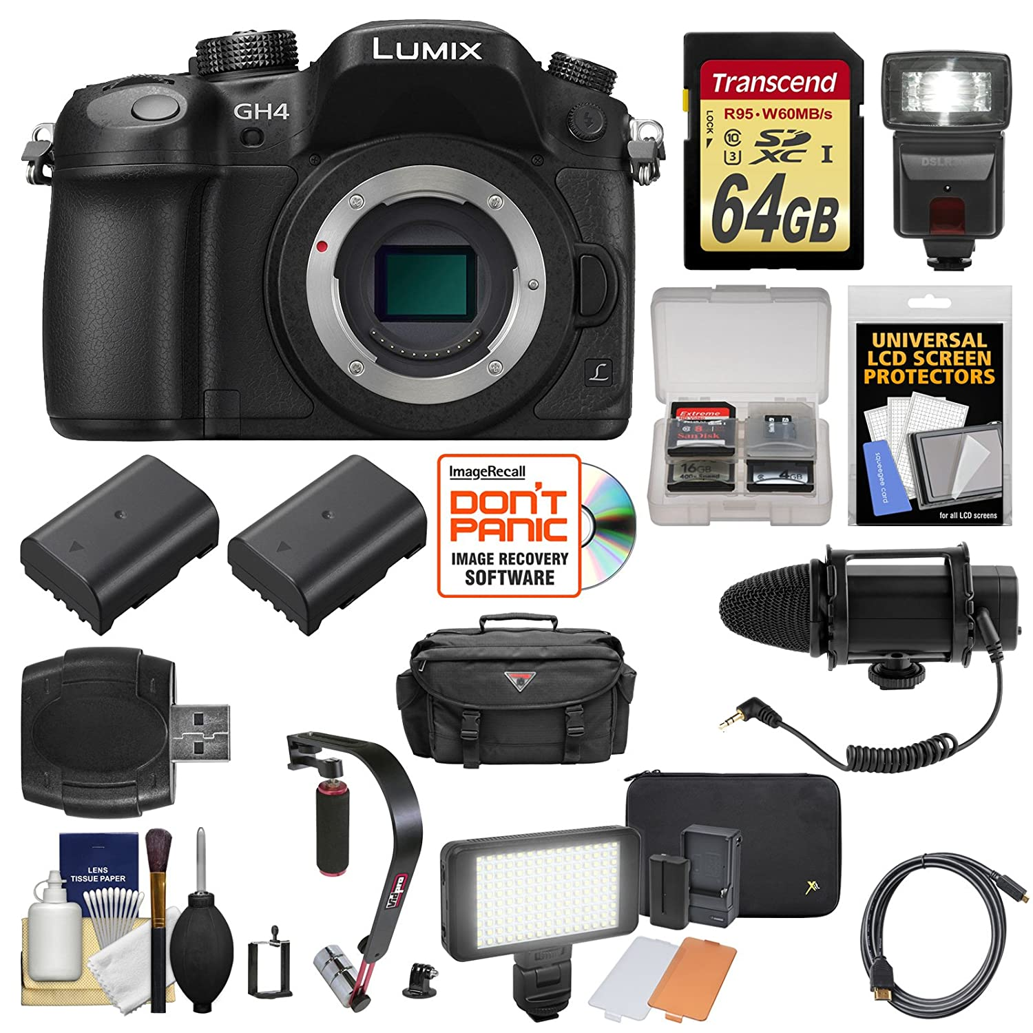 Panasonic Lumix Dmc Gh4 4k Micro Four Thirds Digital Wasabi Blf19 Battery Kit For Gh3 Gh5 Camera Body With 64gb Card Case Flash 2 Batteries Microphone Led Light