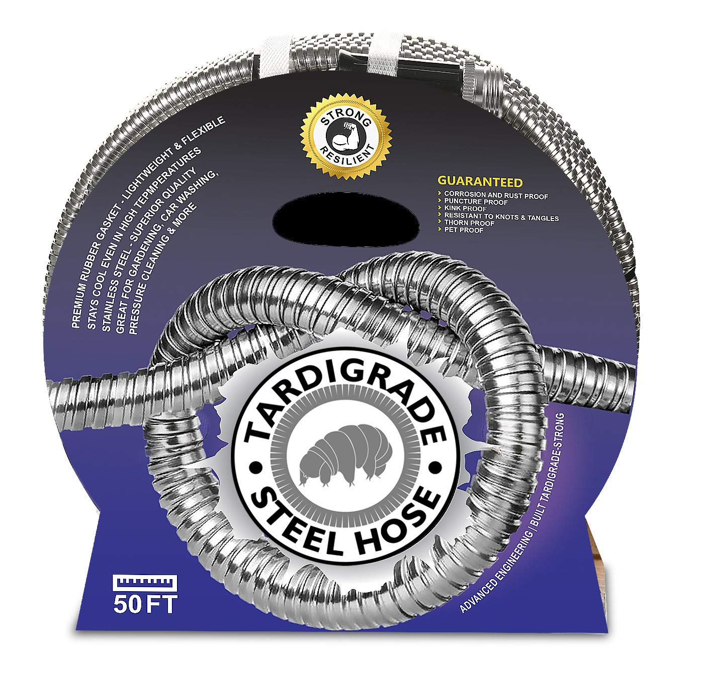 Specilite Heavy Duty 75 Foot Stainless Steel 10 Spray Pattern Nozzle Garden Hose