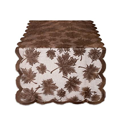 DII 18x72 Lace Table Runner, Maple Leaf Brown   Perfect For Fall,  Thanksgiving,