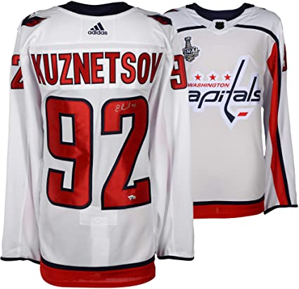 Evgeny Kuznetsov Washington Capitals 2018 Stanley Cup Champions Autographed  White Adidas Authentic Jersey with 2018 Stanley a9c42d949
