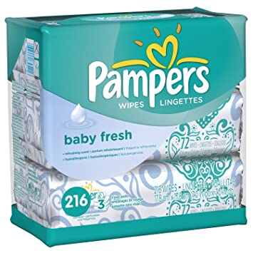 Pampers Baby Fresh Wipes 3x Travel Packs, 216 Count Total Wipes