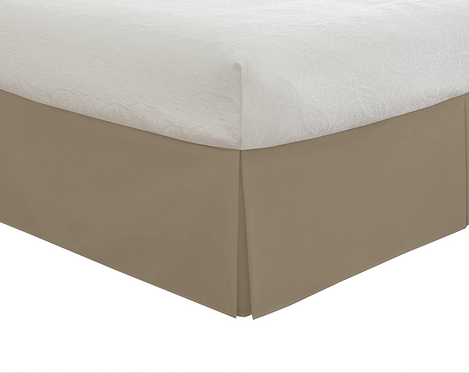 (King, Mocha) - Lux Hotel Bedding Tailored Bed Skirt, Classic 14
