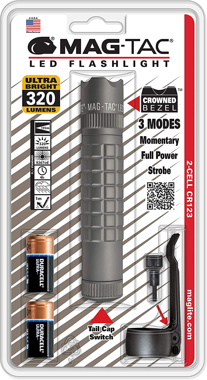 Maglite Mag-Tac LED 2-Cell CR123 Flashlight - Crowned-Bezel, Urban Gray