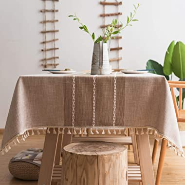 fiercewolf Linen Rectangle Tablecloth Tassel Table Cloth Heavy Weight Cotton Fabric Dust-Proof Table Cover for Kitchen Dinning, Rectangle/Oblong, 55 x 86 Inch