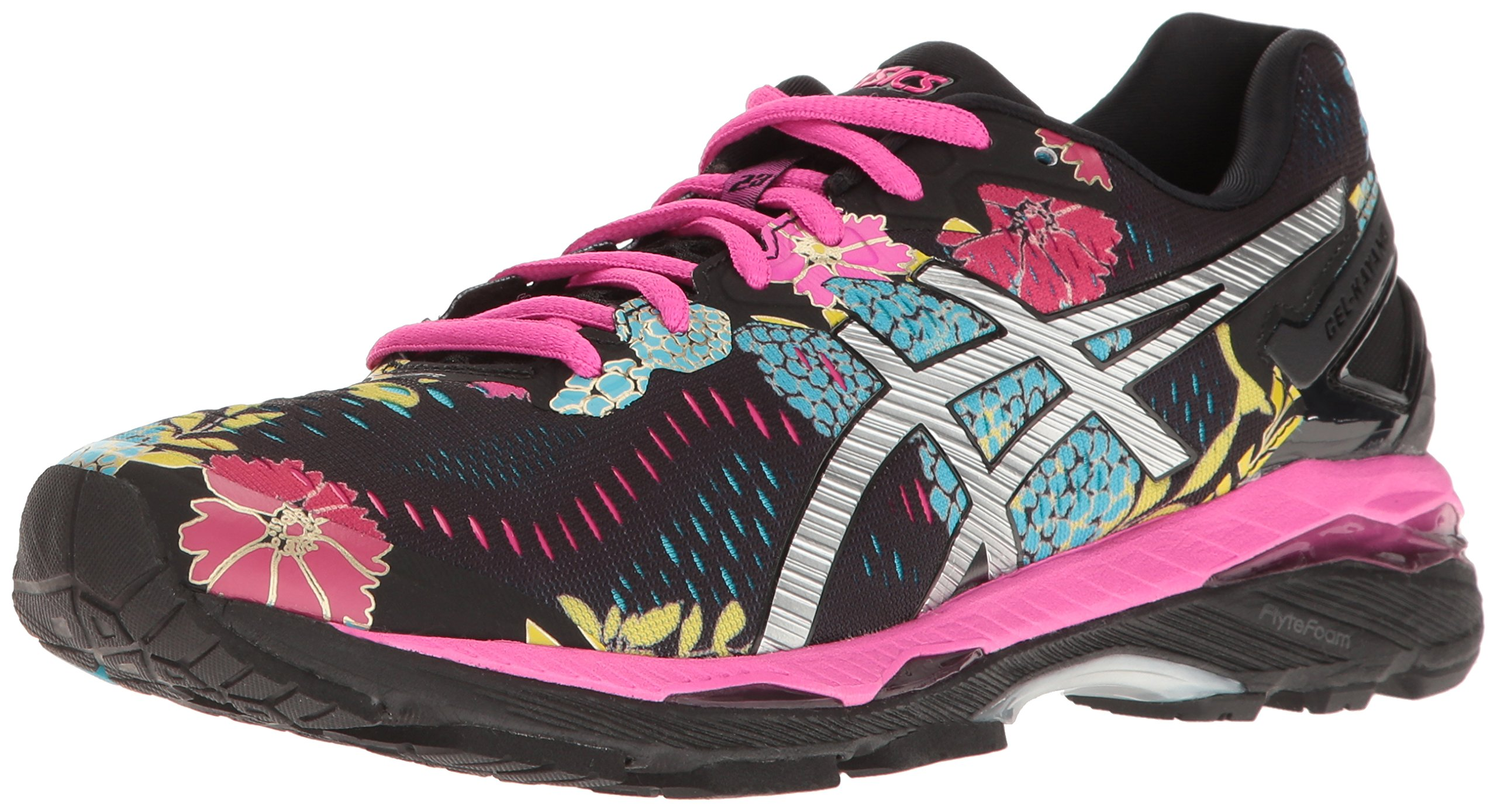 ASICS Women's Gel-Kayano 23 Running Shoe, Black/Silver/Pink Glow, 8.5 M US
