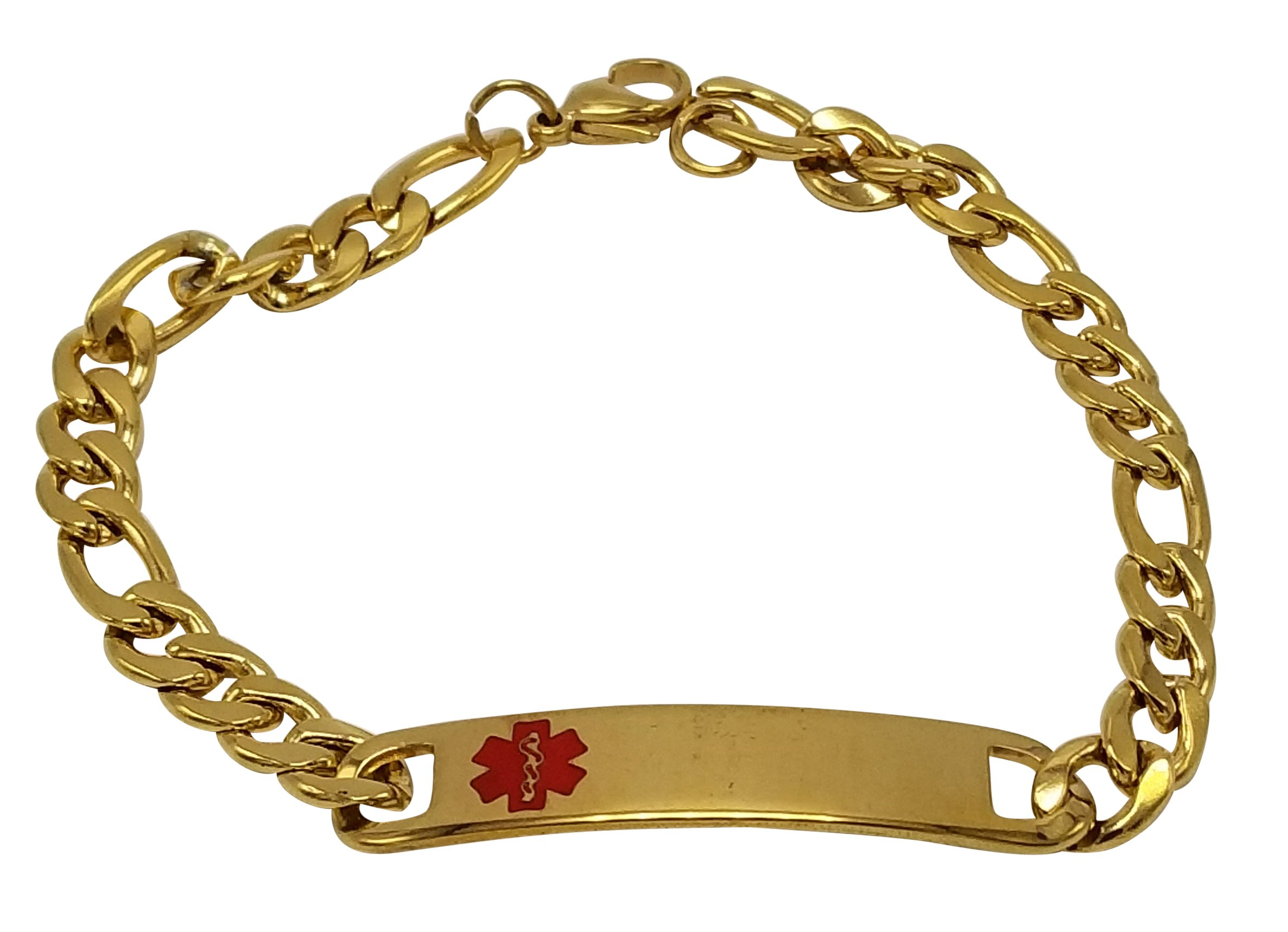 JGFinds TYPE 2 Diabetes Medical Alert Engraved Gold Over Stainless Steel Bracelet, 8 inch