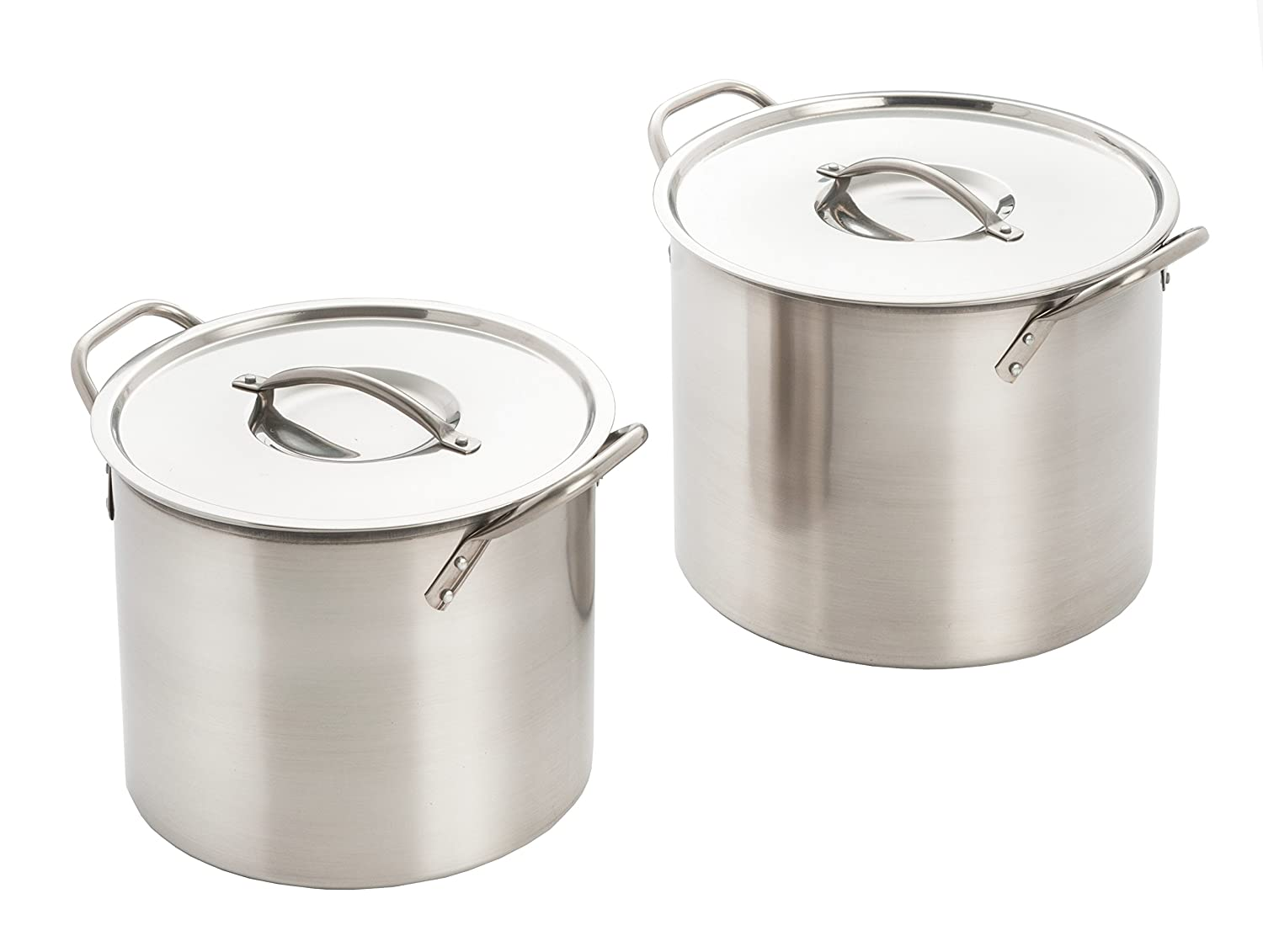 Excelsteel Set Of 2 Stainless Steel Stockpot With Lids 524