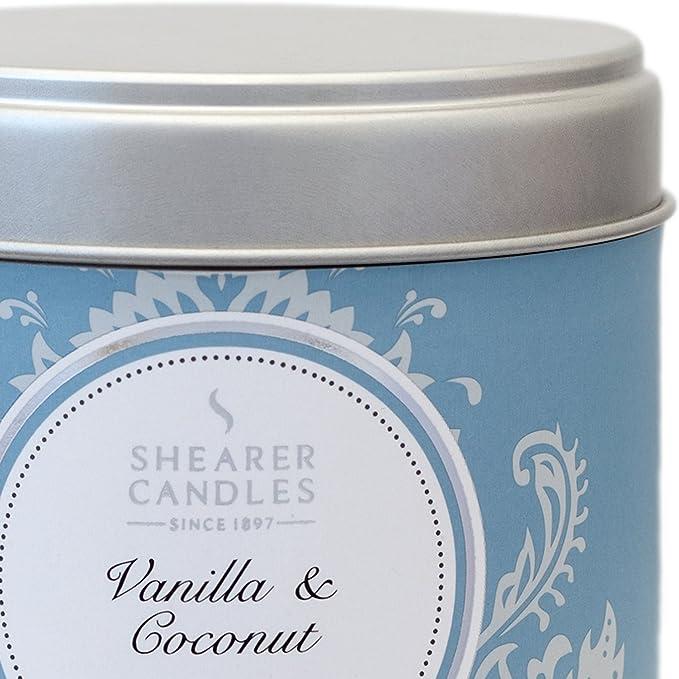 Shearer Candles Bougie dans Une bo/îte en INOX Senteur Vanille et Coco Argent/é 7,5 x 7,2 cm