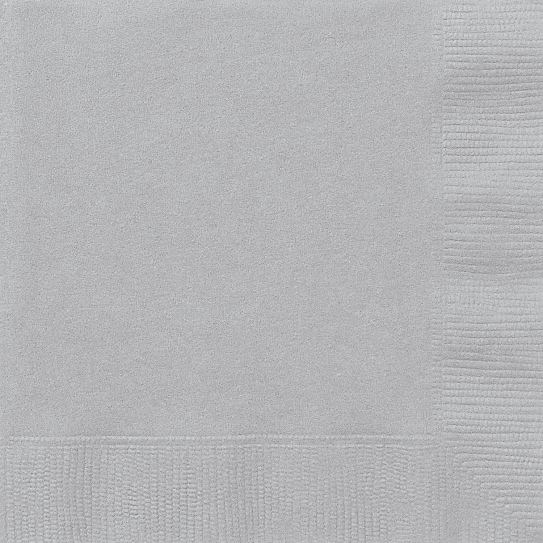 Unique Party Paquete de 20 servilletas de papel Color plata 13 cm 3341