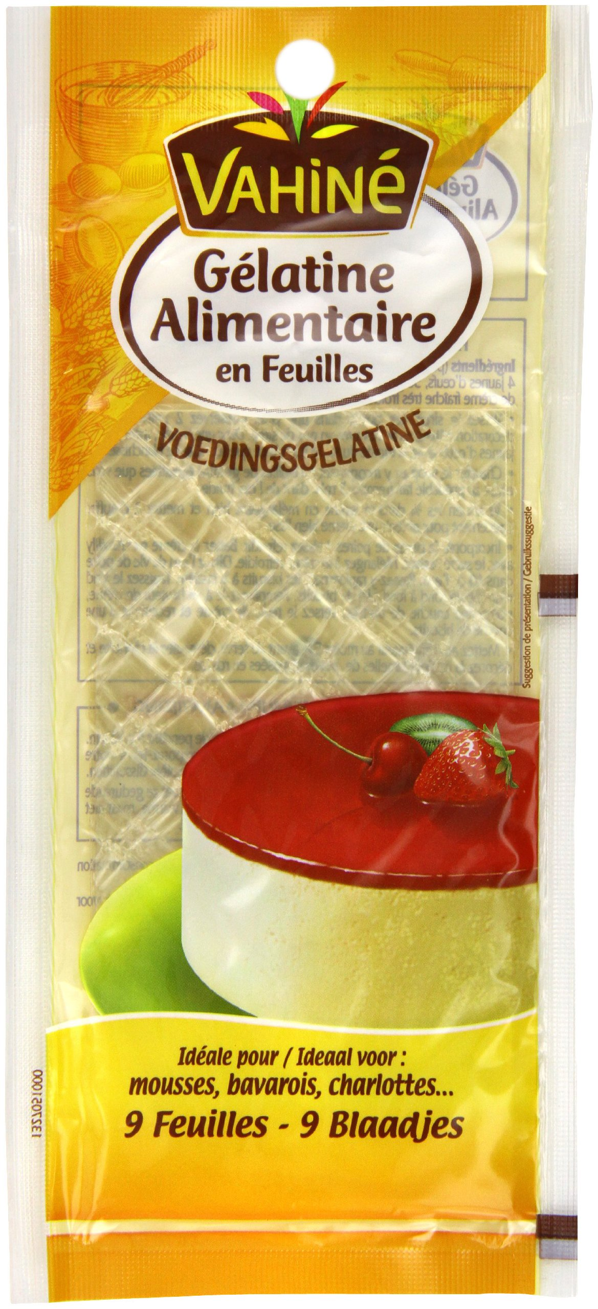 Vahine Gelatine Sheets 9 x 2g (Pack of 5, Total 45 Sheets)
