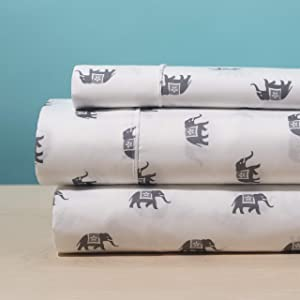 Elegant Home White Grey Elephants Design 4 Piece Printed Sheet Set with Pillowcases Flat Fitted Sheet for Kids/Teens # Elephant Walk (Queen Size)