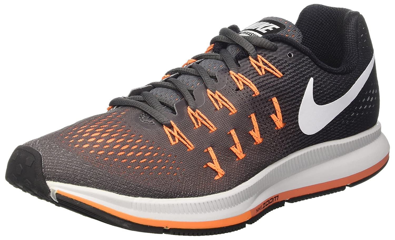 Nike Men's Air Zoom Pegasus 33 B01CHEUSG2 10 D(M) US|Dark Grey/White/Black/Bright Citrus