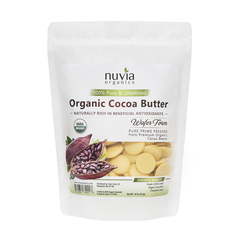 Nuvia Organics Cocoa Butter Wafers - 100% USDA Certified Organic, Pure Raw Unrefined, 16 Oz