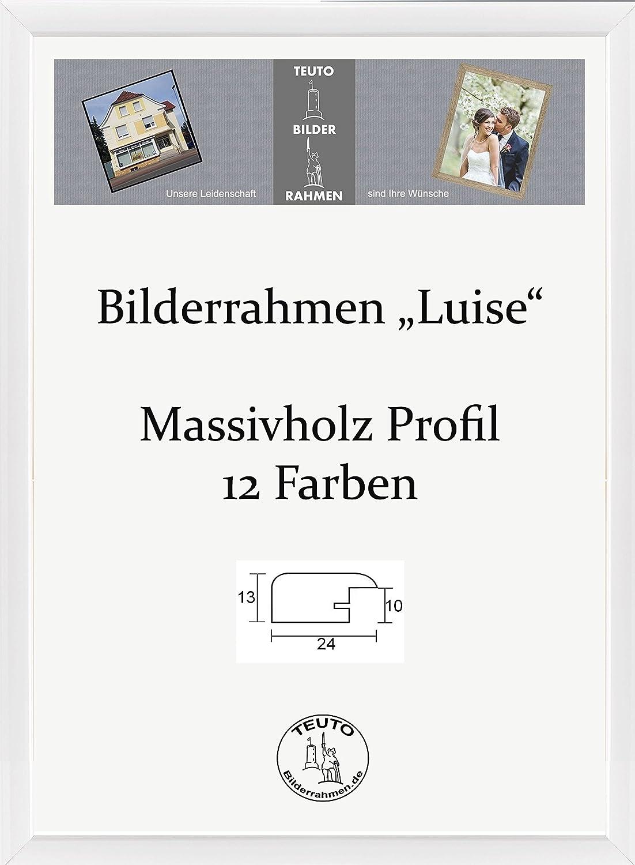 Luise Bilderrahmen Echtholz 29 x 35 cm rund elegant 35x29 cm Farbauswahl in 13 verschiedenen Farben, hier Weiss Hochglanz mit Acrylglas Antireflex 2mm