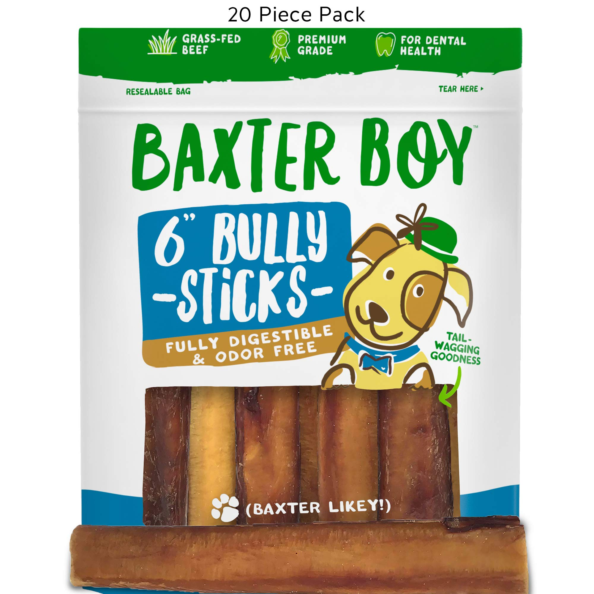 """Baxter Boy 6-inch Premium Grade Odor Free Bully Sticks Dog Treats [Extra-Thick], (20 Pack) – 6"""" Long All Natural Gourmet Dog Treat Chews – Fresh and Savory Beef Flavor – 30% Longer Lasting"""