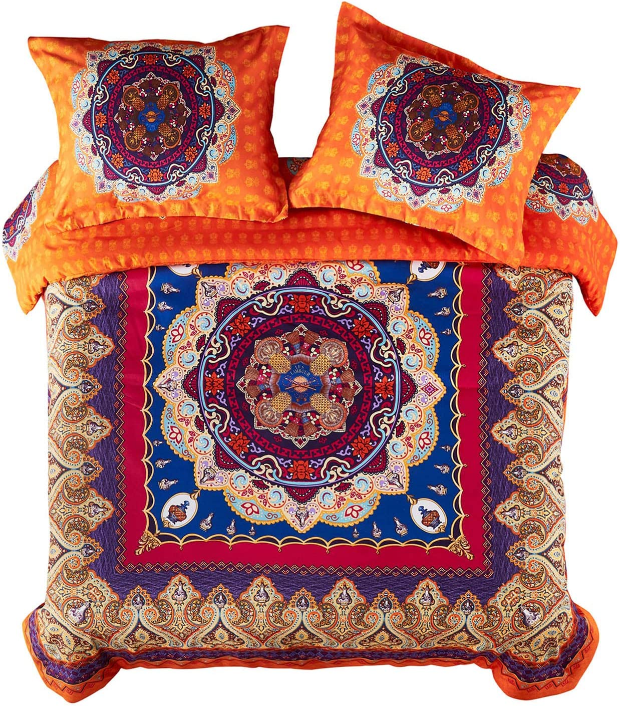 Wake In Cloud - Mandala Duvet Cover Set, Orange Bohemian Boho Chic Medallion Printed Soft Microfiber Bedding, with Zipper Closure (3pcs, Queen Size)