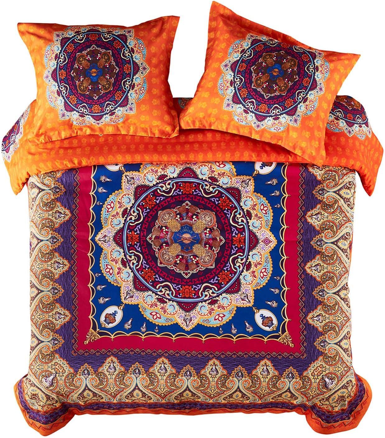 Wake In Cloud - Mandala Duvet Cover Set, Orange Bohemian Boho Chic Medallion Printed Soft Microfiber Bedding, with Zipper Closure (3pcs, Full Size)