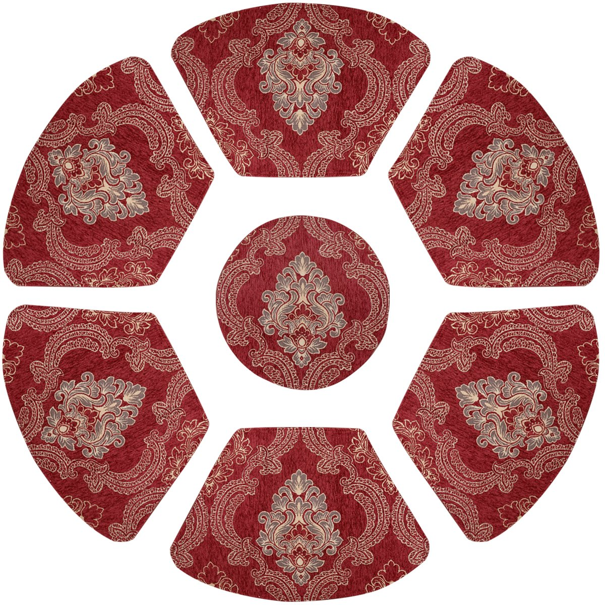 Grelucgo Set of 7 Wedge Placemats And Centerpieces Set For Round Tables, Cranberry