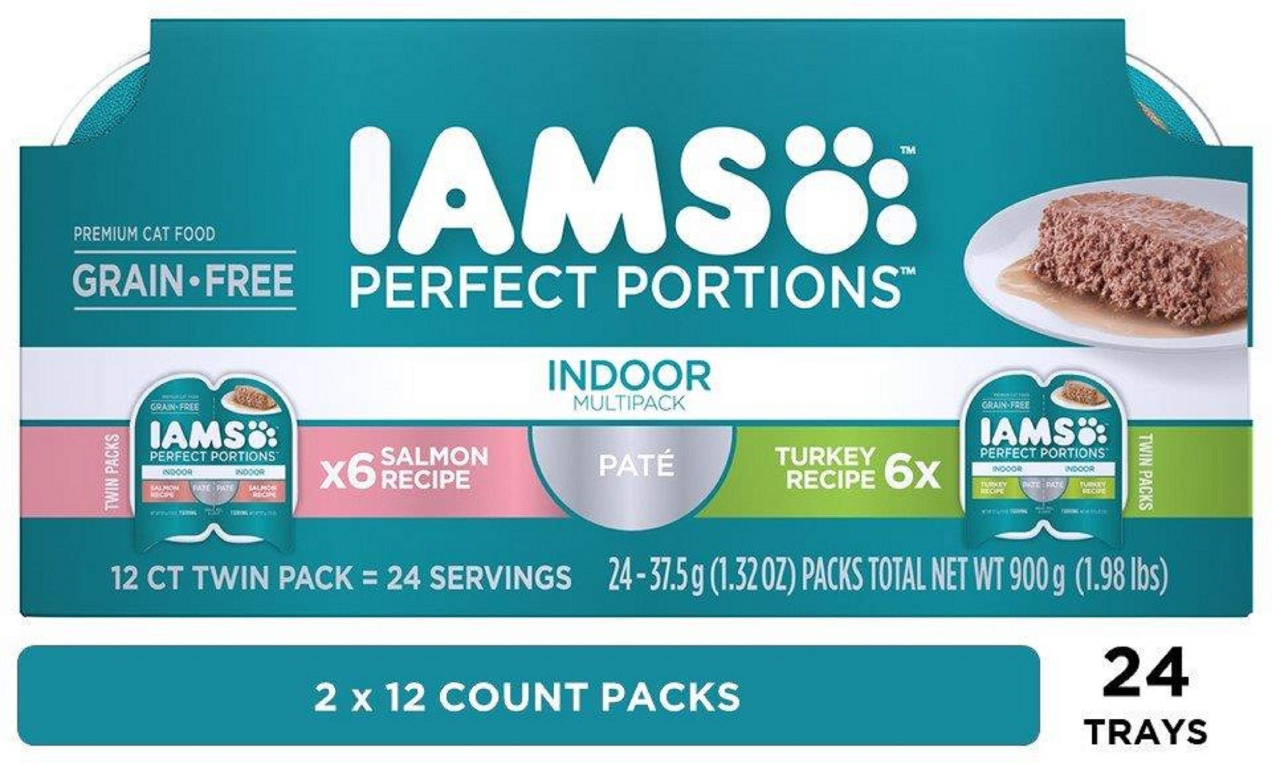 IAMS Perfect Portions Indoor Grain Free Wet Cat Food, Pate (24 Twin Packs) by Iams