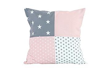 ULLENBOOM ® Patchwork Kissenbezug Rosa Grau (40x40 cm Kissenhülle, 100%  Baumwolle, ideal als Dekokissen, Kinderzimmer Zierkissen, Motiv: Sterne)