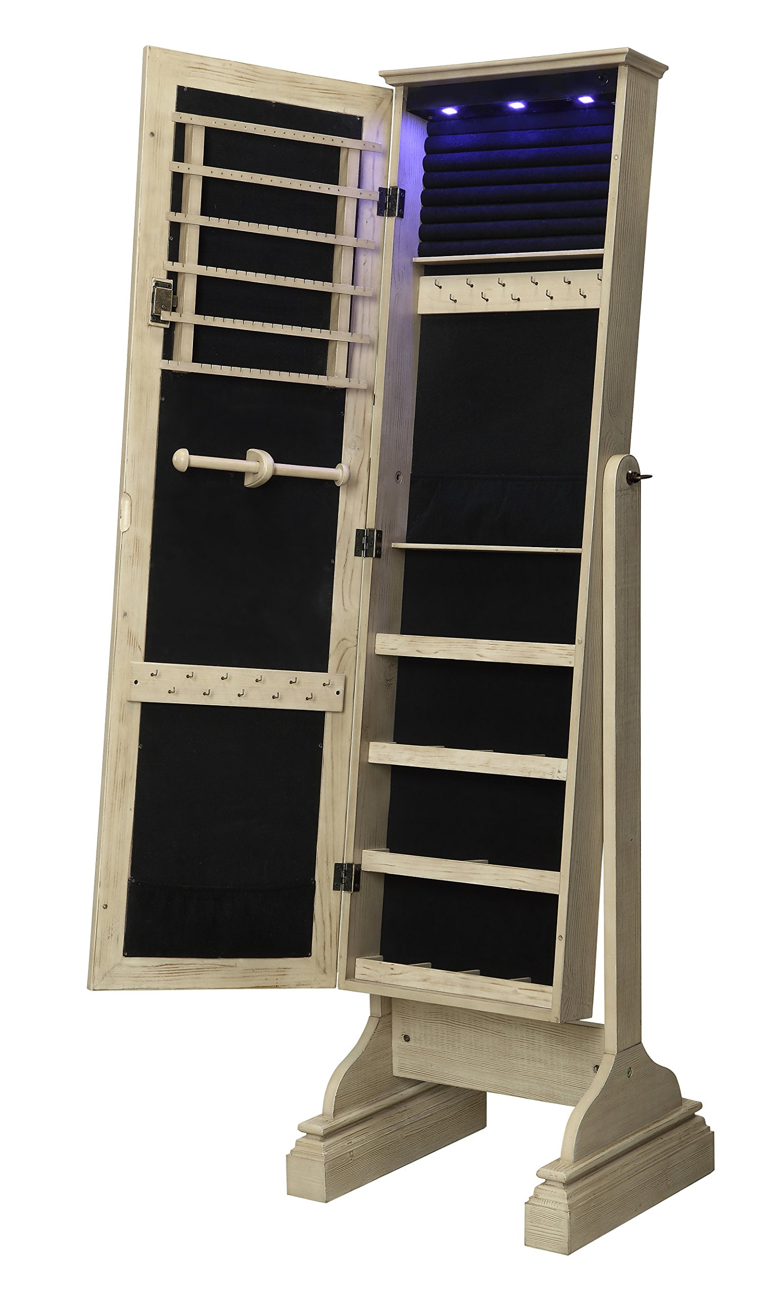 Kathy Ireland Home Full Length Mirrored Standing Jewelry Armoire Organizer Cabinet with LED lights from Abington Lane