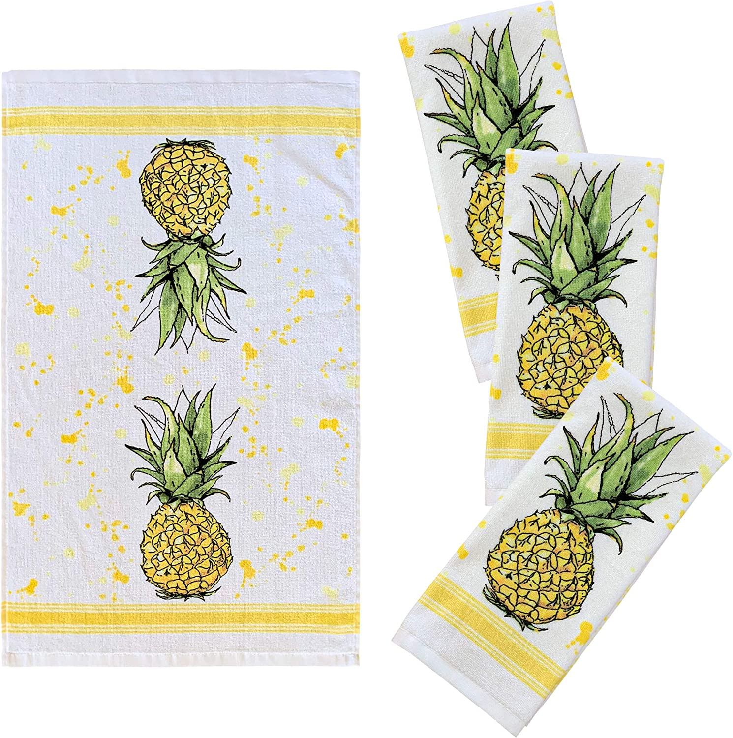 """Franco Kitchen Designers Set of 4 Decorative Soft and Absorbent Cotton Dish Towels, 15"""" x 25"""", Sweet Pineapple"""