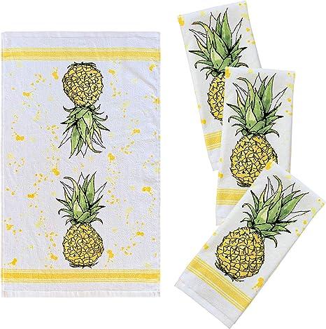 Franco Kitchen Designers Soft Absorbent Cotton Tea Towels 38 1 X 63 5 Cm Pineapple Pack Of 4 Amazon De Kuche Haushalt