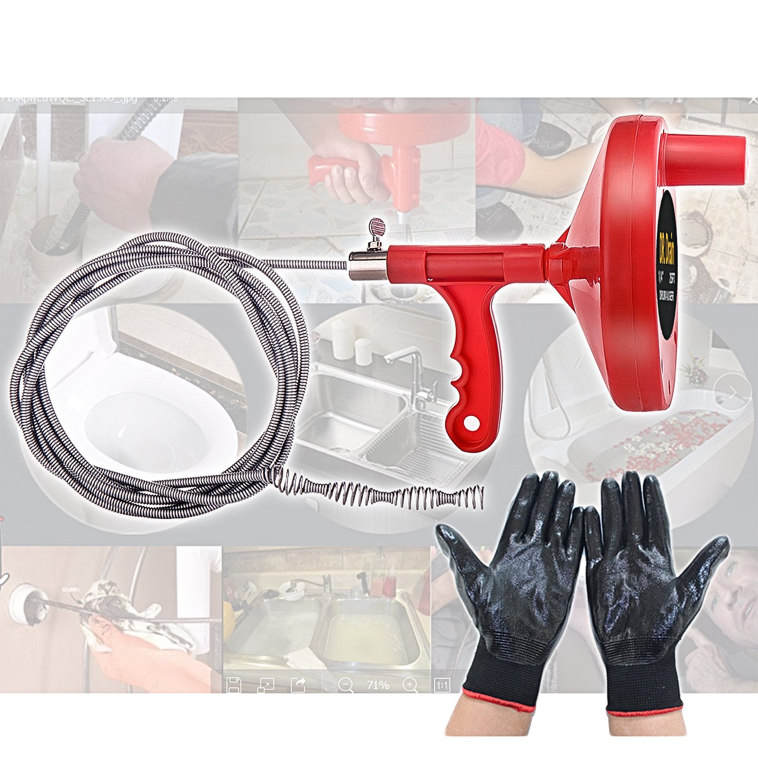 Dr.Drain VEDRAU01A1 Augers Plumbing Snake Pipe Cleaner Household Spring Cable with Gloves, Red by Dr.Drain