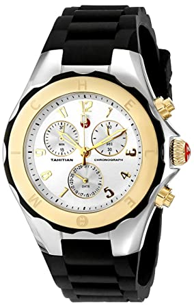 8ca934197 Image Unavailable. Image not available for. Color: MICHELE Women's  MWW12F000057 Tahitian Jelly Bean Analog Display Analog Quartz Black Watch