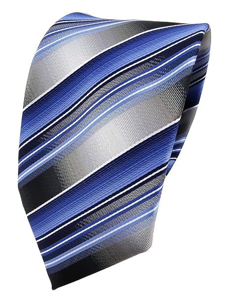 TigerTie diseñador corbata de seda - azul claro gris plata rayas ...